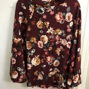 Maroon floral full circle skirt L